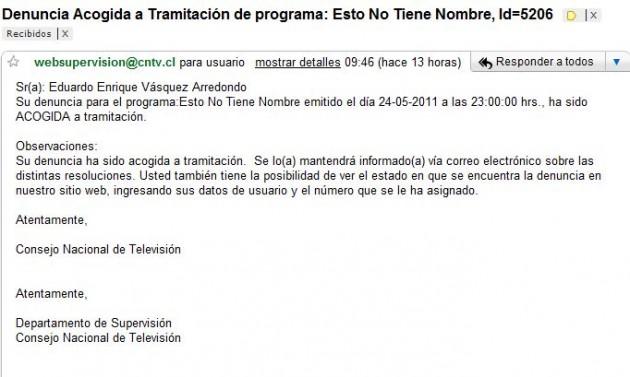 Respuesta de CNTV vía email