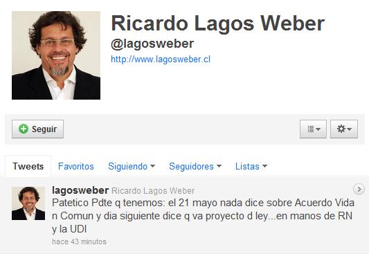 Ricardo Lagos Weber en Twitter