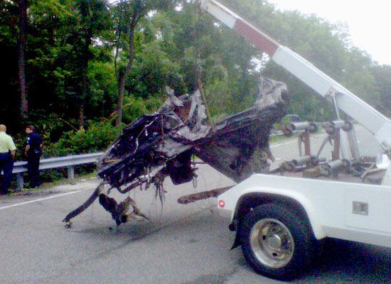 Parte del automóvil tras el accidente | TMZ.com