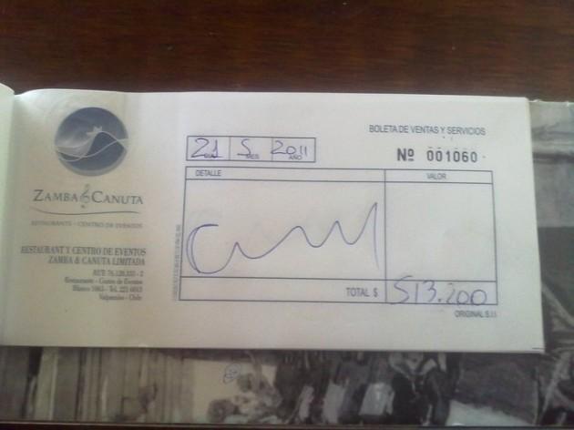 Boleta de restaurante ZambaCanuta | El Mostrador