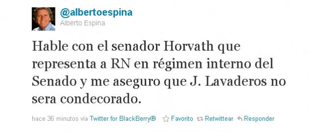 Alberto Espina en Twitter