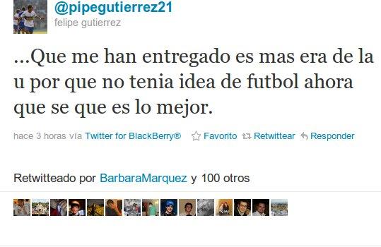 Felipe Gutierrez en Twitter
