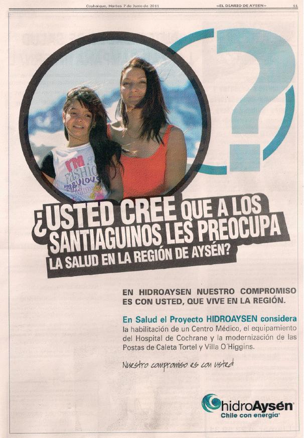 Publicidad HidroAysén | Patagonia Sin Represas