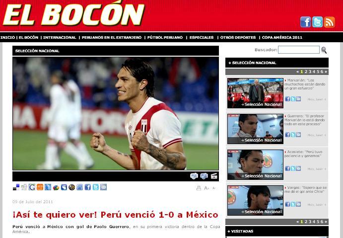 Prensa De Perú Festeja Triunfo Sobre México En Copa América Notas
