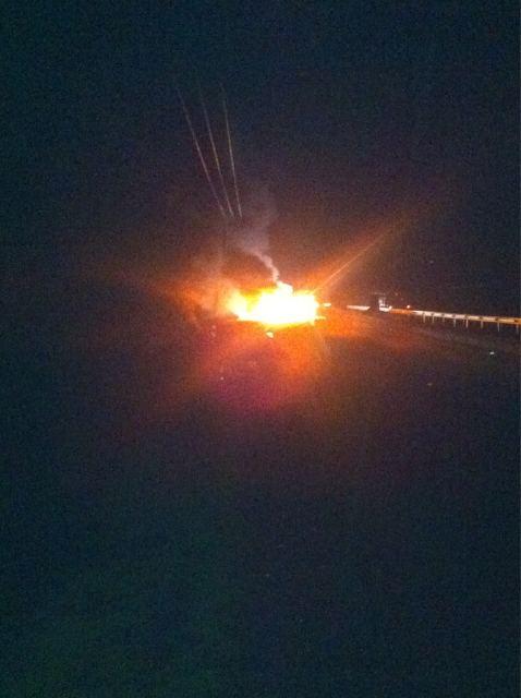 Incendio de automóvil en Ruta 5 Sur | @maauriciodiaz