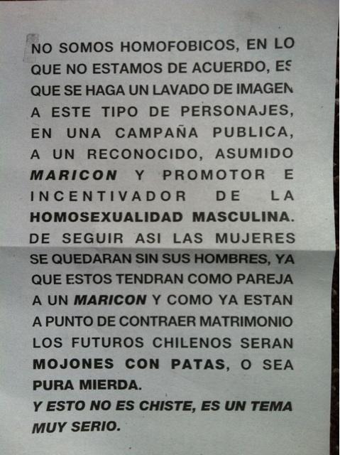 Panfletos encontrados en Providencia