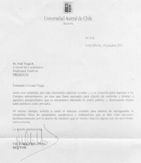 Documento que autoriza ingreso de Carabineros