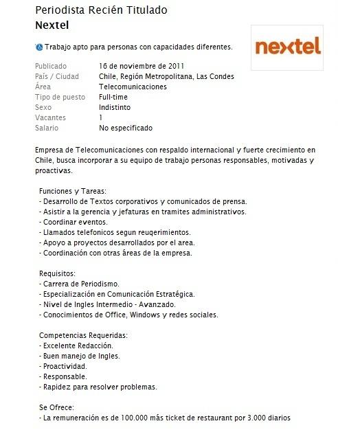 Oferta de empleo para empresa Nextel