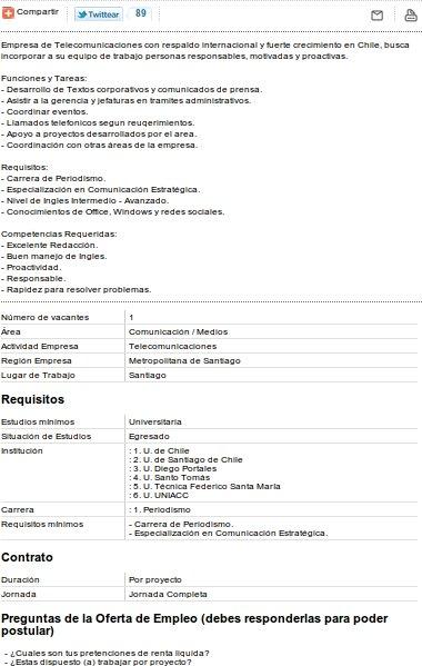 Oferta Laboral publicada en el sitio de Nextel
