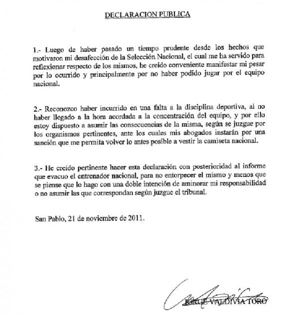 Escrito de Valdivia