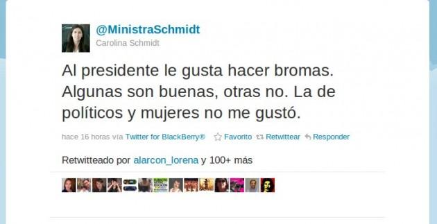 Carolina Schmidt en Twitter