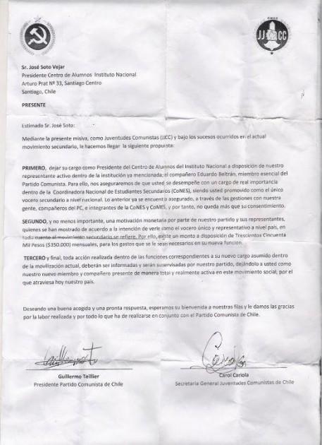 Supuesta carta enviada por el PC.