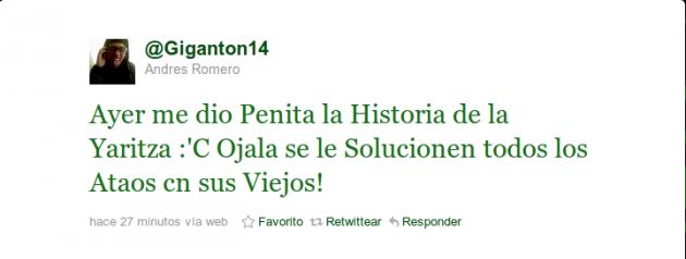 Andrés Romero en Twitter