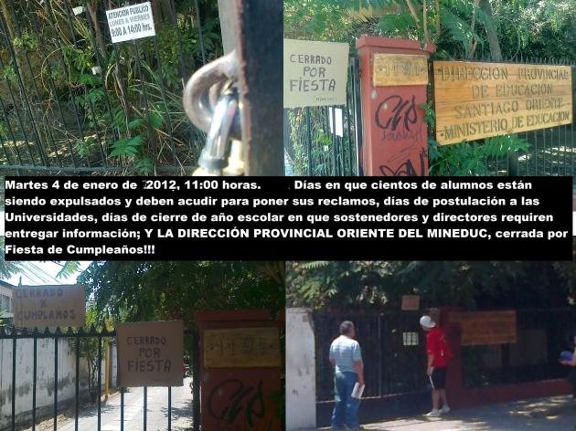 Dirección Oriente del MINEDUC cerrada! | Moises Bravo Leiva