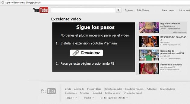 YouTube falso | Captura de Pantalla