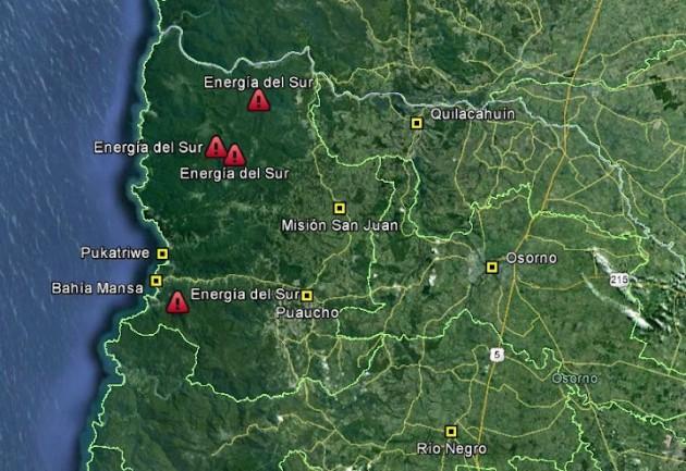 Puntos de captación solicitados por Energía del Sur | Fütawillimapu