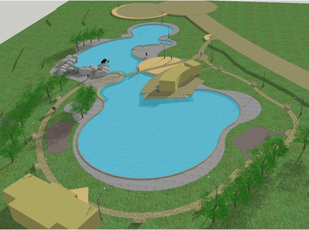Obras de construcci n de la piscina del parque chucaya de for Construccion de piscinas en chile