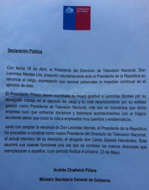 Declaración del vocero de Gobierno Andrés Chadwick