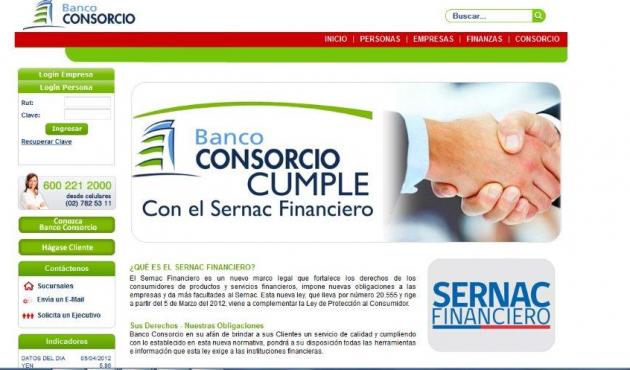 Publicidad en sitio Web de Consorcio | Sernac