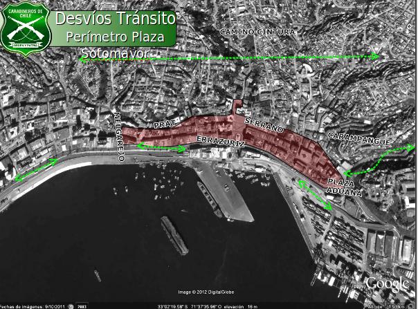 Desvíos Plaza Sotomayor en Valparaíso