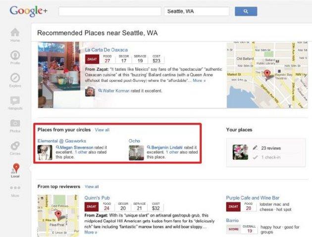 Google+ añade los contenidos de Zagat