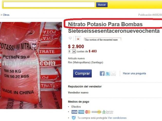 Químicos para bombas en Internet    Hector Gonzalez