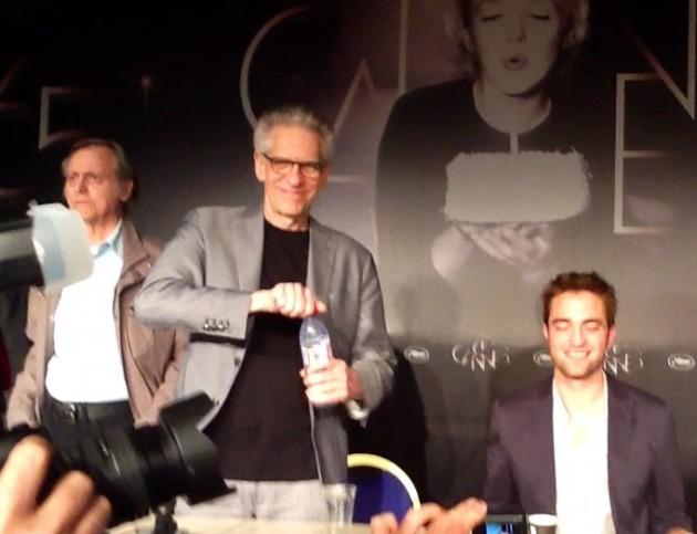 El escritor Don de Lillo , David Cronenberg, cineasta y el protagonista de 'Cosmopolis', Robert Pattinson