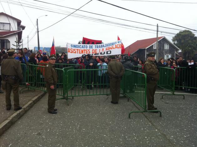Manifestantes en Chiloé