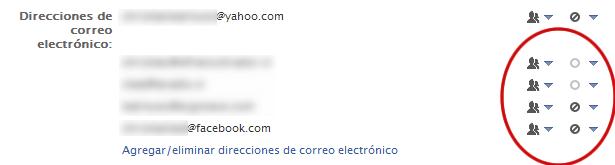 Sección para cambiar las casillas en tu perfil de Facebook