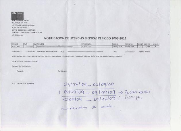 Licencia médica Rechazada   Carlos López (RBB)