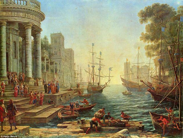 Puerto con el embarque de Santa Úrsula | Claudio de Lorena