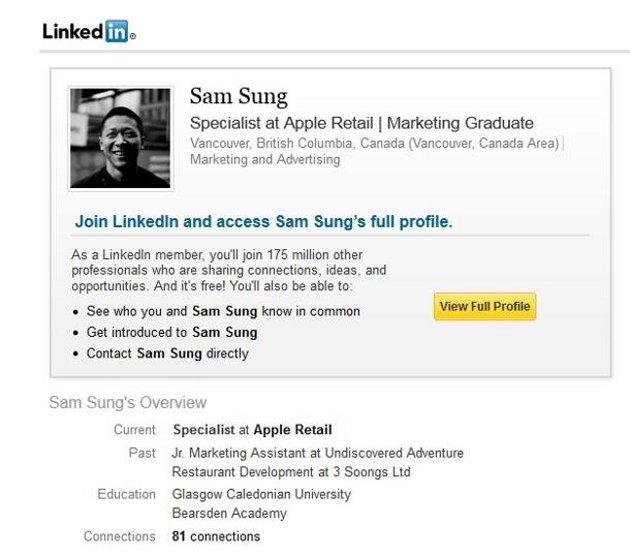 Sam Sung en LinkedIn