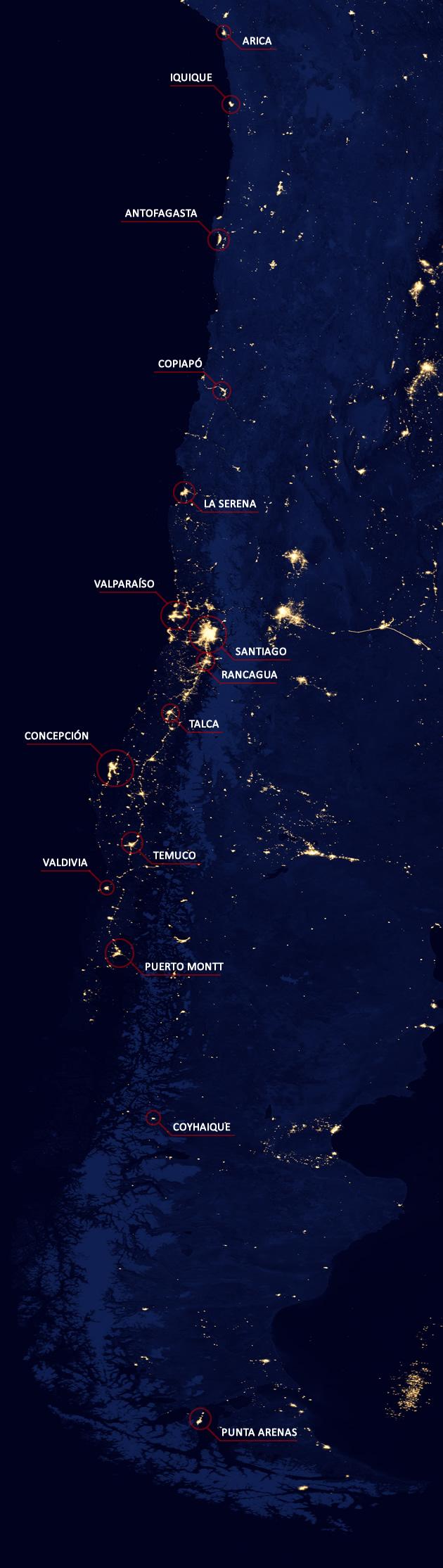 Chile Nocturno | BioBioChile/NASA