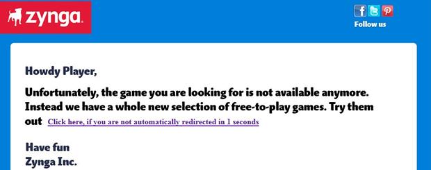 Anuncio de cierre de juegos de Zynga