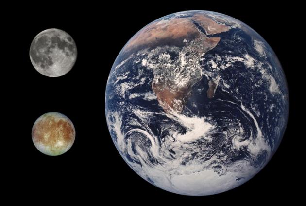 Comparación entre la Luna, la Tierra y Europa (abajo a la izquierda) | NASA (DP)