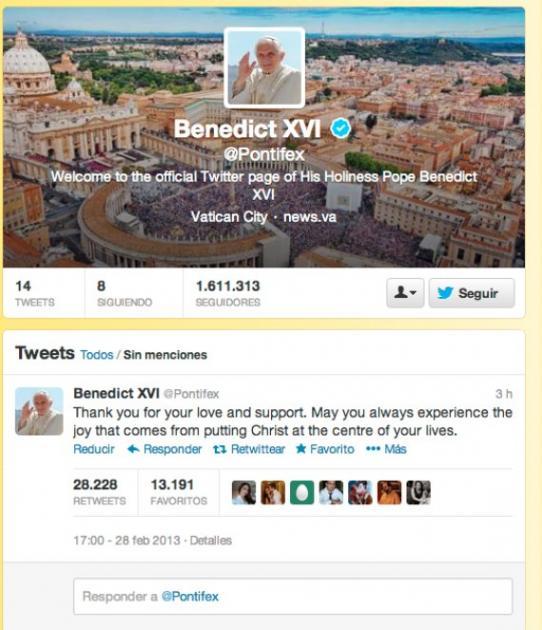 Twitter oficial del Papa