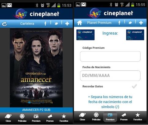 Aplicación para celulares de Cineplanet