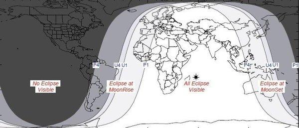 NASA | Mapa del eclipse lunar parcial