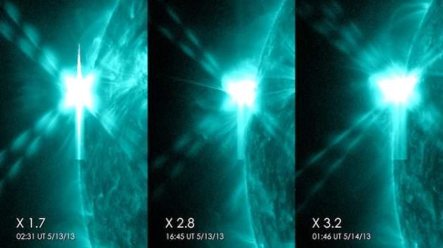Las tres erupciones captadas por la NASA
