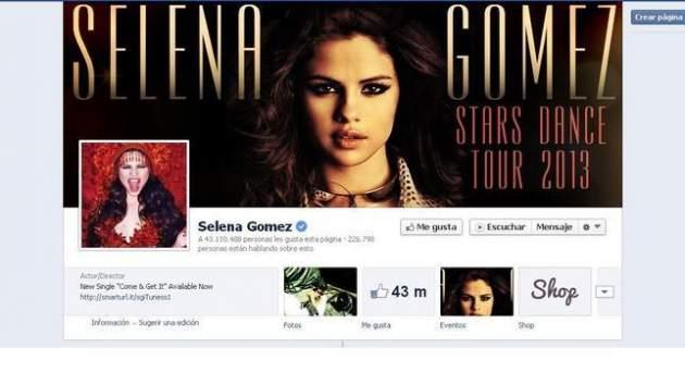 Página de Facebook de Selena Gómez