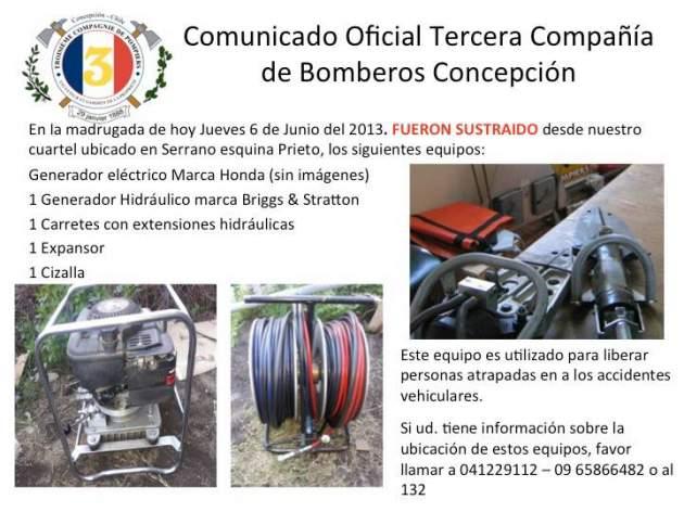 Robo a Bomberos de Concepción