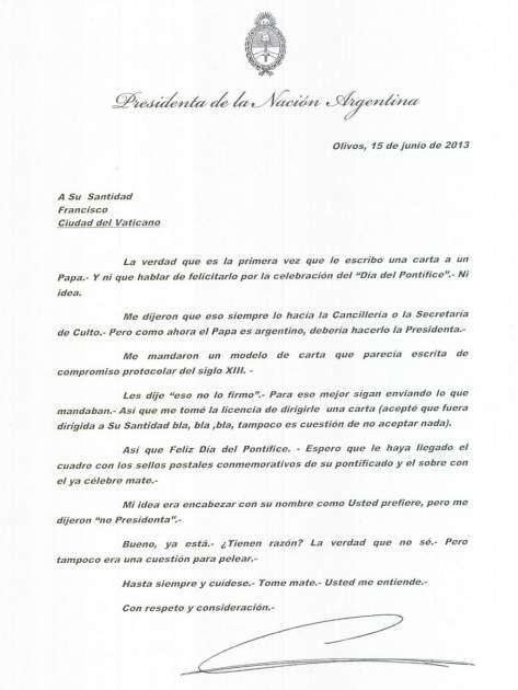 Carta publicada en la cuenta CFK Argentina