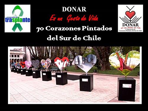 Donar Es Un Gesto de Vida, 70 Corazones Pintados del Sur de Chile
