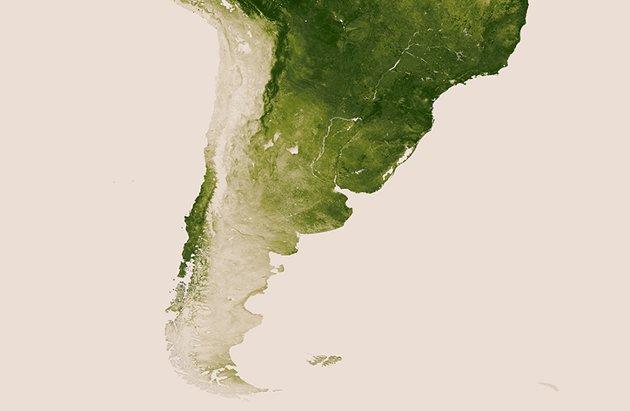 Acercamiento a la zona de Chile   NASA/NOAA
