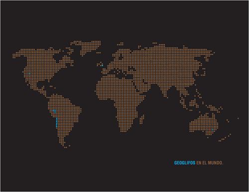 """""""MAPA GEOGLIFOS XC"""" Mapa de Geoglifos en el mundo. Los puntos de color calipso marcan los lugares en donde existen geglifos. Autoría Juan Gili"""