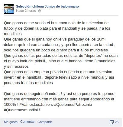 Facebook Selección Chilena Junior de Balonmano