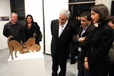 Presidente Sebastián Piñera y la artista Antonia Boza