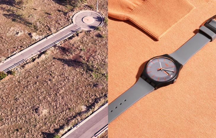 Sweater de Woolrich y reloj de Swatch | Vista de Sicilia | Joseph Ford