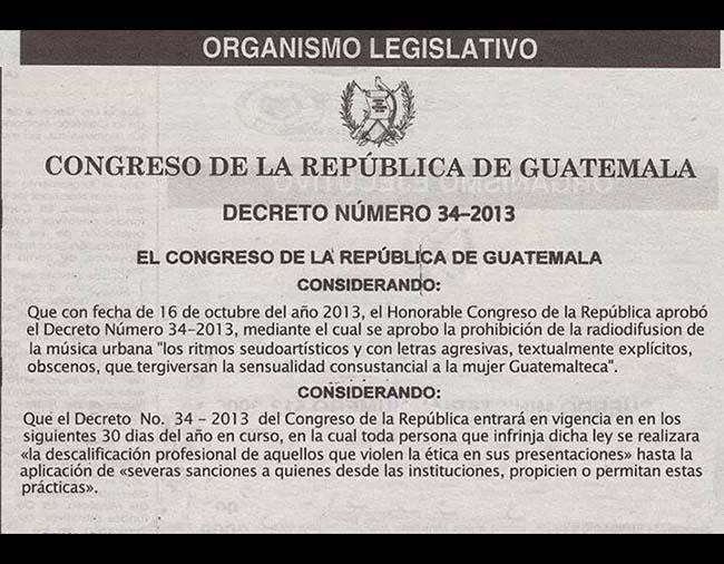 Supuesto decreto prohibiendo el reggaetón