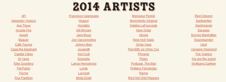Line up filtrado desde sitio web de Lollapalooza